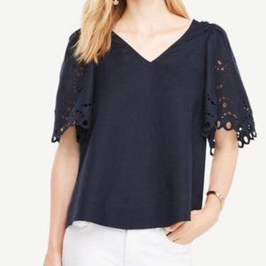 EUC Ann Taylor Embroidered Puff Sleeve Blouse Sz M